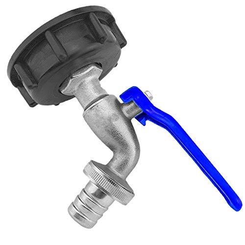 Auslaufhahn 3/4 Zoll AG aus Messing mit Hebelgriff blau und Schlauchtülle für 3/4 Zoll Schlauch mit Adapter als ZUBEHÖR für IBC Container Kappe Deckel Auslaufventil Wasserhahn Kugelhahn Kanister
