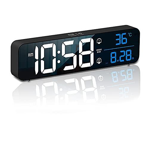 COMBIUBIU Reloj Despertador Digital,Reloj Digital Pared con Temperatura Y Gran Pantalla LED,Reloj Mesita De Noche con 2 Despertadores,repetición,5 Niveles De Brillo,Control por Voz,12/24 Horas ,Negro