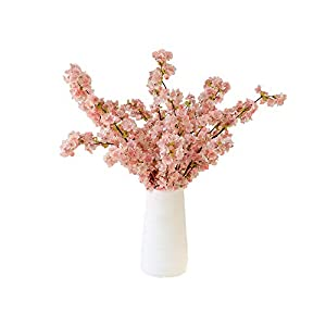 4pcs Artificial Flowers Cherry Blossom Silk Flowers Peach Branches Fake Flower Arrangements for Home Wedding Decoration ( Pink)