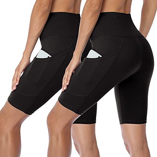 HLTPRO Damen Biker-Shorts mit hoher Taille und Taschen – 2er-Pack Bauchkontrolle, athletische Shorts für Workout, Yoga, Laufen - Schwarz - Klein