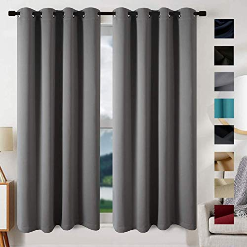 EDILLY Thermal Insulated Solid Grommet Blackout Curtains for Living Room Double Panels Drapes Curtain for Bedroom/Kitchen Windows (2 Panels, W52xL72 inch Length, Cement Grey)
