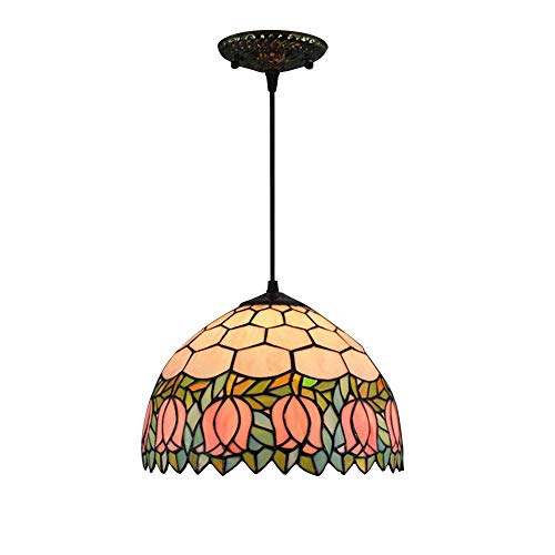 Tiffany-Style E27 Pendant Lamp Multicolor Handmade Glass Round Hanging Light Height Adjustable Decoration for Living Room Dining Table Bedroom Dining Area Hallway Ceiling Lamp D30CM