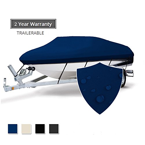 Seamander Heavy Duty Waterproof Trailerable Boat Cover Fit V-Hull Tri-Hull Fishing Ski Pro-Style Bass Boats, Full Size