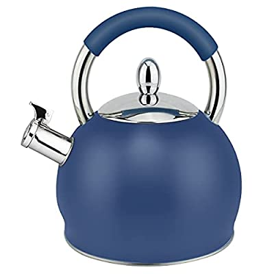 HausRoland Tea Kettle 3.2 Quart Whistling Stainless Steel Stove Top Teapot 18/10 Food-Grade Stainless Steel (GS-04391A-A-786, Blue)