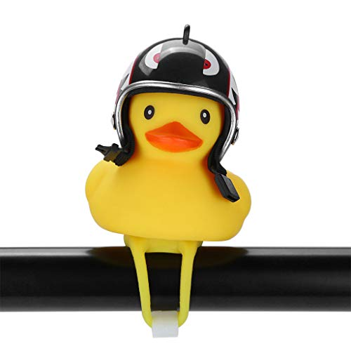 BXzhiri Kids Bike Bells Duck Bicycle Lights Bell, Head Light Shining Rubber Duck Handlebar Bicycle Accessories for Kids Adults Sport Outdoor
