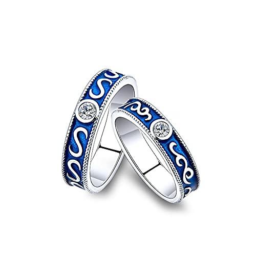 Anillos de pareja retro azul par anillo abierto para hombres y mujeres