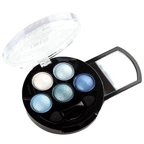 5 Farben Augen Schminke Glitzer Lidschatten Puder Kosmetik Eyeshadow Glitter Make Up Palette Blau