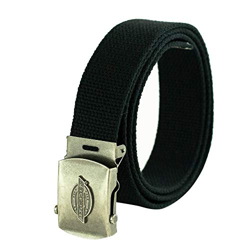 Dickies Men's Cotton Web Belt with Military Logo Buckle, Black, One Size