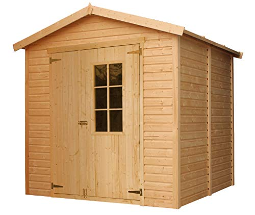 TIMBELA Wooden Garden Shed - Outdoor Storage with Windows – W8ft x D7ft x H7ft Timber Shiplap Shed - Garden Workshop - Bike, Tool Shed Storage M351E
