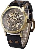 ZFAYFMA Reloj de Hombre analógico analógico de Reloj, Reloj de Movimiento de Acero Inoxidable de Steampunk, Reloj, Regalo de Ocio de Moda, Retro Black