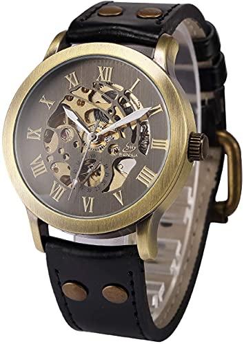 ZFAYFMA Reloj de hombre analógico de cuerda automática, reloj de movimiento de acero inoxidable Steampunk reloj de moda de ocio regalo retro negro