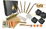 ushi Kit Completo_Set de sushi japonés para 6 personas (18 piezas), Estera de sushi de bambú, 6 palillos, 6 cuencos salsa soja, moldes para nigiros, uramaki, hosomaki y temaki DIY