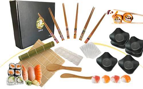 IMERO Kit Sushi per 6 persone (18 pezzi), Stuoia in Bambù, set 6 Bacchette, 6 Piatti Neri per salsa, Stampi per nigiri, uramaki, hosomaki e temaki fai da te