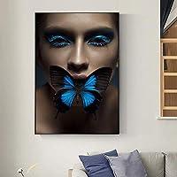 北欧アートフィギュアバタフライ抽象キャンバス絵画壁アートプリントポスター壁の写真リビングルームの家の装飾60x90cmフレームなし