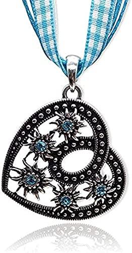 WYDSFWL Collar Gratis Bohemia Vintage Collar Colgante Modo Cristal Lucky Edelweiss Collar Mujeres Encanto Cuerda Collar Regalo joyería Regalo