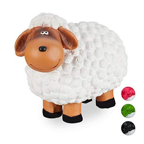 Relaxdays Gartenfigur Schaf, Tierfigur, frostsicher, wetterfest, handbemalte Gartendeko, innen & außen, Keramik, weiß