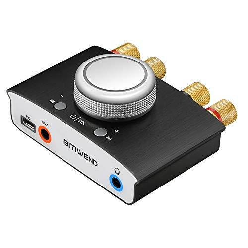 Amplificatore Bluetooth, Mini amplificatore di potenza audio Hi-fi Bluetooth amplificatore per cuffie, Stereo Hi-Fi Digital Amp 2.0 Channel 50W 2 con ingresso AUX USB, Uscita altoparlante auricolare
