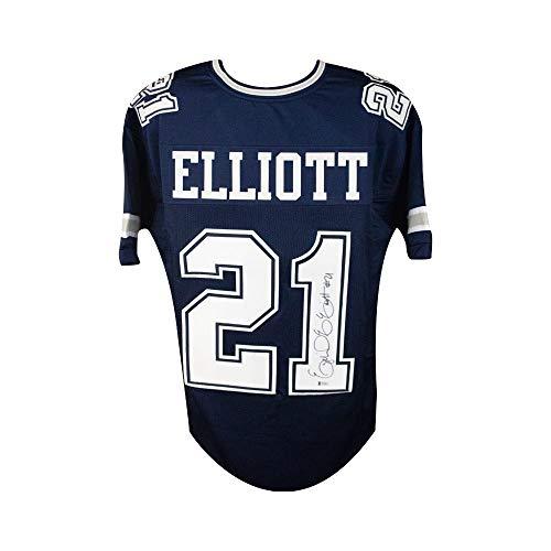 Ezekiel Elliott Autographed Dallas Cowboys Custom Football Jersey - BAS COA