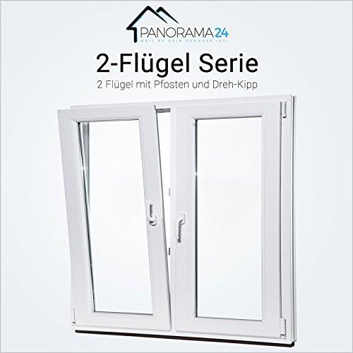 Wohnraumfenster 2 flüglig - Kunststoff - Fenster - weiß - BxH: 140 x 120 3-fach-Verglasung - 70mm Profil - verschiedene Maße