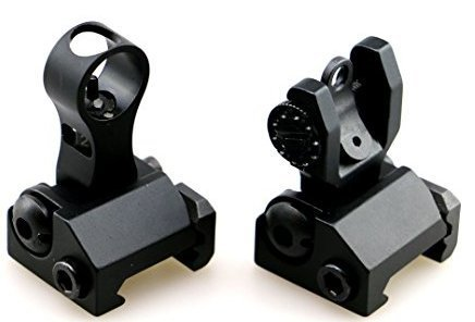 Golden Eye Tactical New Flip Up Front Rear Backup Iron Sight Set with Elevation Window