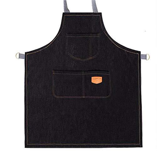Meng Delantal Impremeable De Trabajo Unisex, Suave Yventilado para Cocina, Jardín, Cerámica, Taller De Manualidades Y Más Actividades (Color : Black)