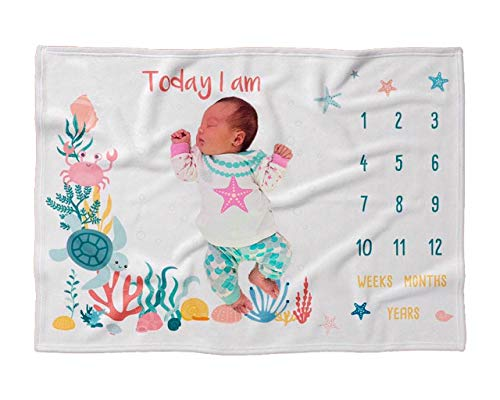 "Baby Monthly Milestone Blanket | for Boy or Girl, Unisex 2021 | Sea Marine Ocean Animals, Turtle and Crab Theme |Large 60"" x 40""