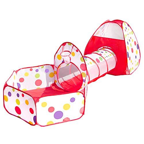 Meigirlxy Tienda de juegos para niños de interior/exterior, tienda de juguete desplegable con túnel, casa y piscina de bolas (no incluidas).