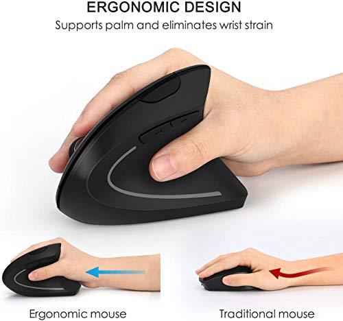 Jelly Comb Ergonomische Maus, 2.4G Vertikale Kabellose Lautlose Funkmaus DPI 800/1200/1600 für PC/Laptop/Notebook mit Windows/Mac/Linux, 6 Tasten, Schwarz