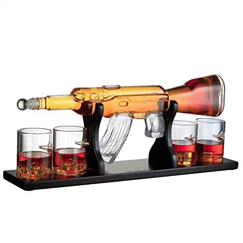 YUEN Rifle Gun Whisky Deck Dispositivo De Agua Grande Juego De Dispositivos De Agua Grande, Con 4 Vasos De Whisky Bala Y Base De Caoba, El Mejor Regalo Para Hombres Para Licor, Vodka O Vino