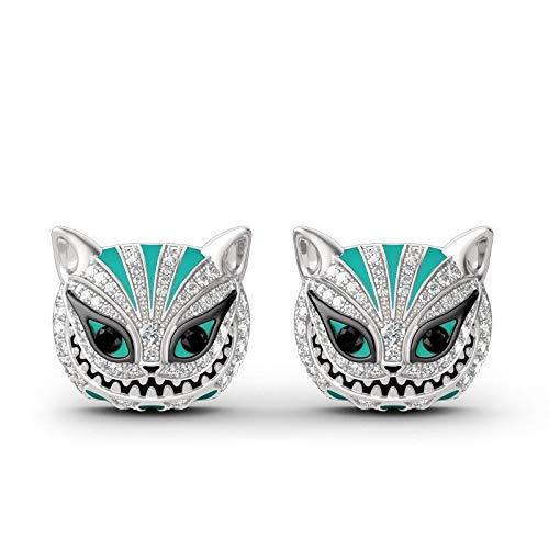 GBX Pendientes pequeños con diamantes de imitación de gato pendientes punk joyería de dibujos animados pendientes de animales están aquí para damas y hombres pendientes SilverColor