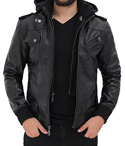 Decrum Men's Black Genuine Lambskin Leather Biker Jacket With Hood | [1100164] Black Edinburgh, L