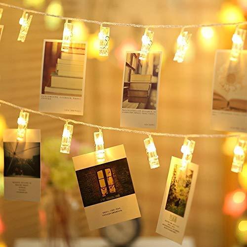 TECKEPIC 20 LED Guirlande-Clip Lumineuse 220cm Lumières de Bande à piles Décoration Romantique pour Chambre Maision Jardin Pelouse Fêtes Noël - Blanc Chaud