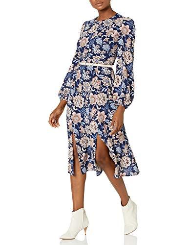 Eliza J Women's Long Sleeve Floral Printed MIDI Dress, Navy, 12