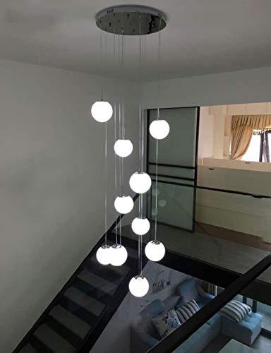 GWFVA Light 10 Bolas de Vidrio Escalera de la lámpara Luces Colgantes Modernas para Villa Chandelier Escalera dúplex Larga lámpara de araña Led, 50x50x200cm Alto (Color: B)