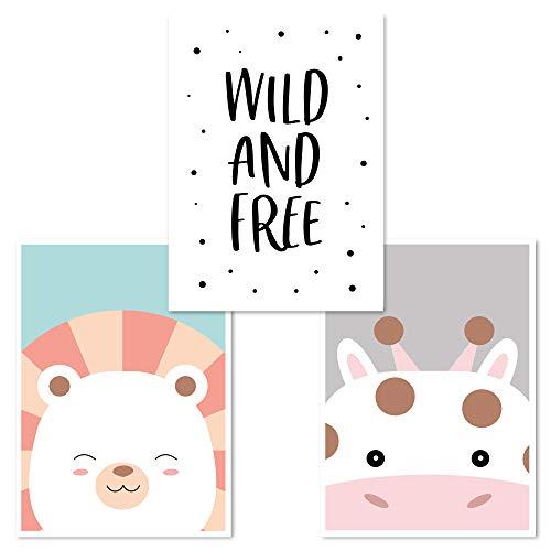 Kinderzimmer Poster Set 3 Stück, Babyzimmer Deko, DINA 4, Junge Mädchen, (Löwe, Wild&Free, Giraffe)