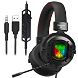 ONIKUMA K3 Stereo Gaming Headset for Xbox One, PC, PS4 Over-Ear Headphones with Noise Canceling Mic, Soft Breathing Earmuffs, LED Light, Mute&Volume Control for Mac Laptop Tablet Smatphone