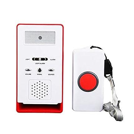 FUNRUI Sistema de alarma para el paciente, alarma inalámbrica con alarma para el hogar, botón de emergencia, timbre, monitor de ancianos, dispensador de cuidados personal para