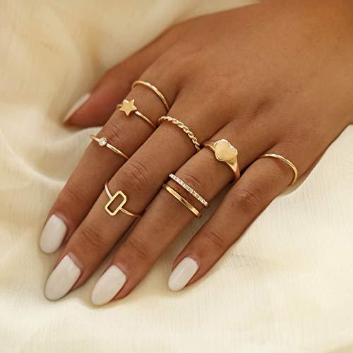 Runmi Boho Rings - Juego de anillos de dedo con forma de corazón dorado para mujeres y niñas (paquete de 8)
