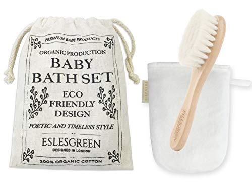 ESLESGREEN Set para cuidado del bebé - Cepillo de madera y fibras naturales, manopla y bolsa neceser algodón orgánico - Regalo recién nacido