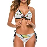 Bikini Swimsuits Brazilian Cheeky Bottom String Cute Chickadee Bird Watercolor