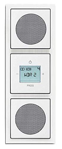 Busch Jäger Unterputz UP Digitalradio 8215 U (8215U) Komplett-Set Future Linear Studioweiß mit 2 x Lautsprecher in 3 fach Rahmen 1723-184K integriert inkl. Abdeckungen