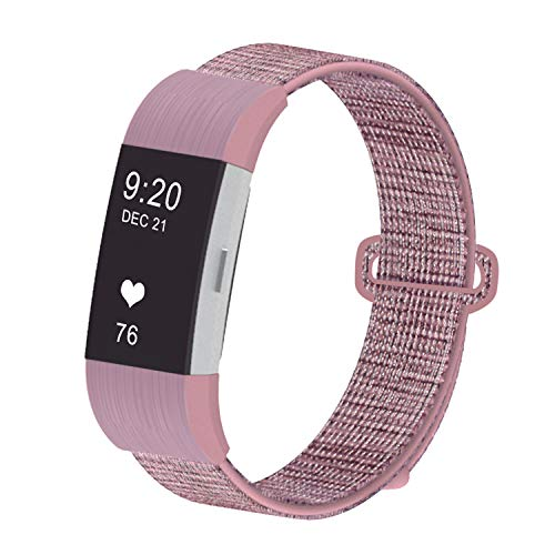 JUN1 Compatible with Fitbit Charge 2 Bands Soft Nylon Sport Wristbands for Men Women Lightweight Replacement Straps Accessories for Fibit Charge 2 Fitness Tracker (Mauve)