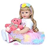Zero Pam Reborn Baby Dolls Toddler Realistic Girl 24 Inch 60cm Real Looking Baby Doll Soft Silicone Body with Beautiful Dress Xmas Gift for Kid