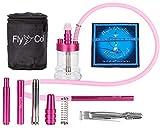 FlyCol Nano 1 Mini Shisha | Cachimba de agua de viaje con accesorios | Hookah de cristal para viaje pequeño mini cachimba | Set de pinzas y boquilla (rosa)
