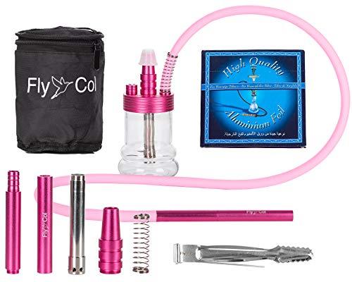 FlyCol Nano 1 Mini Shisha | Travelshisha Wasserpfeife mit Zubehör | Glas Travel Hookah für unterwegs kleine Minishisha Schlauch Set Zange Mundstück (Pink)
