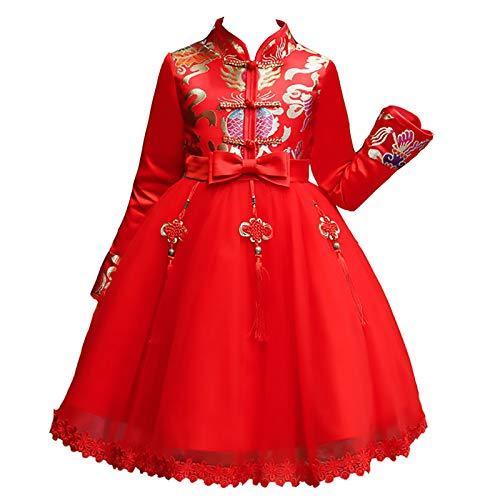 XYW Cheongsam de los niños - Hanfu Girls Año Nuevo Otoño/Invierno Estilo Chino Invierno Ropa de Invierno Falda Invierno Gruesa Traje Tang (Color : #2, Size : #110)
