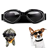 Dog Goggles, Puppy Sunglasses Anti-UV Eye Protection Goggles Waterproof Windproof Anti-Fog for Small/ Medium Pet Sunglasses(Black)