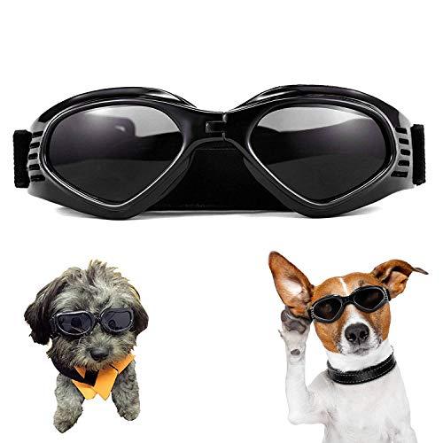 XUNKE Occhiali da Sole e protettivi per Cani di Piccoli Taglia, Anti UV, Impermeabili, Pieghevole Pet Dog Occhiali (Black)