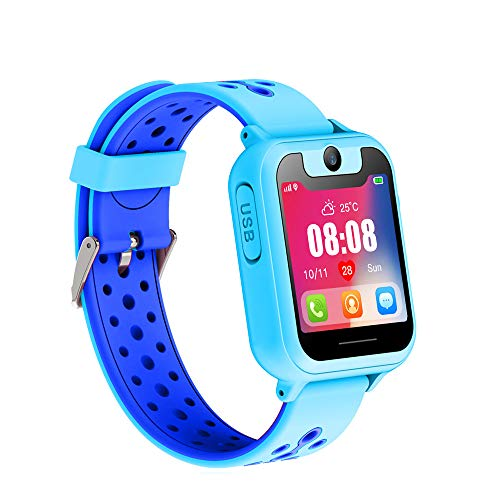 Updated Kids Smart Watches with GPS Tracker Phone Call for Boys Girls Digital Wrist Watch, Sport Smart Watch, Touch Screen Cellphone with Camera Anti-Lost SOS Learning Toy for Kids Gift (Blue)
