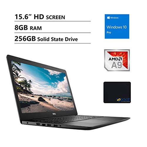 "Dell Inspiron 15.6"" HD Business Laptop, AMD A9-9425, 8GB RAM, 256GB Solid State Drive, Wireless AC, Bluetooth, Webcam, MaxxAudio, HDMI, Win10 Pro, KKE Mousepad, Black"